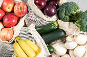 Zero Waste concept. Vegetables and fruit in eco-friendly sustainable and reusable bag