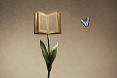 Surreal open book supported by a flower stem meets a colorful butterfly