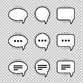 Cartoon speech bubbles set. Speech bubbles set in cartoon style on transparent background. Bubble icons set. Sticker design.Speech bubble tag. Chat sign symbol icon. Text message. Talk bubble.