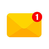 New notification. Email notification. Flat banner. Incoming message. Message icon. Message bell icon. One new notification concept. Email interface. Text message. Chat bubble.