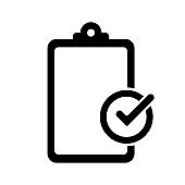 Clipboard icon. Clipboard, great design for any purposes. Checklist document. Isolated vector icon. Check mark vector icon. Question mark.