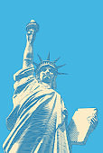 Retro art of Lady Liberty vector illustration on blue BG