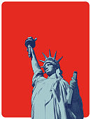 Retro engraving of lady liberty illustration isolated on red BG