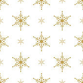 Gold Snowflakes seamless pattern.  White background. Christmas collection. Vector illustration