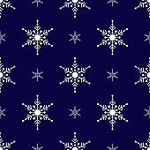 White Snowflakes seamless pattern.  Dark blue background. Christmas collection. Vector illustration