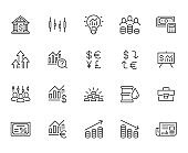 Investment line icon set. Stock market, bond, financial analysis, broker, income increase minimal vector illustration. Simple outline signs investor application. Pixel Perfect. Editable Strokes