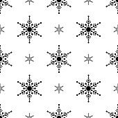 Black Snowflakes seamless pattern. White background. Christmas collection. Vector illustration