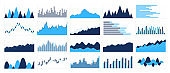 Graphs and charts templates. Big set business infographics. Statistic and data, information, economy. Financial chart. Vector illustration.