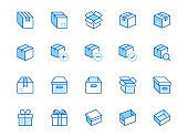 Box line icon set. Carton, cardboard boxes, product package, gift, parcel minimal vector illustrations. Simple blue outline signs for delivery service application. Editable Strokes