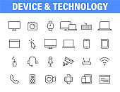 Set of 24 Technology and Electronics and Devices web icons in line style. Device, phone, laptop, communication, smartphone, ecommerce. Vector illustration.