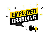 Male hand holding megaphone with employer branding speech bubble. Loudspeaker. Banner for business, marketing and advertising. Vector illustration.