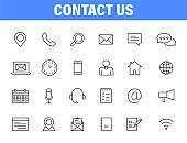 Set of 24 Contact Us web icons in line style. Web and mobile icon. Chat, support, message, phone. Vector illustration.
