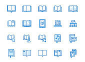 Book line icons set. Open books, dictionary, bible, audio novel, literature education minimal vector illustrations. Simple flat outline sign for web library app. Blue color, Editable Stroke