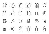 Clothing line icon set. Dress, polo t-shirt, jeans, winter coat, jacket pants, skirt minimal vector illustrations. Simple outline signs for fashion application. Pixel Perfect. Editable Strokes