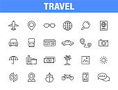 Set of 24 Travel and Holiday web icons in line style. Transport, Luggage, food, navigation, holiday. Vector illustration.