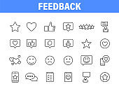 Set of 24 Feedback and Review icons in line style. Star Rating, Emotion symbols. Vector illustration.