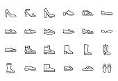 Shoe line icon set. High heels sandal, cowboy boots, hiking footwear, sneakers, slipper minimal vector illustrations. Simple outline signs for fashion application. Pixel Perfect. Editable Stroke