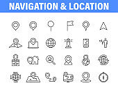 Set of 24 Navigation and location, map, globe web icons in line style. GPS, compass, global, marker, map, pointer. Vector illustration.