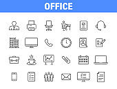 Set of 24 Office and workplace web icons in line style. Teamwork, workplace, coffee, work, business, employee. Vector illustration.