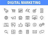 Set of 24 Digital Marketing web icons in line style. Social, networks, feedback, communication, marketing, ecommerce. Vector illustration.