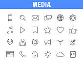 Set of 24 Media and Web icons in line style. Data analytics, Digital marketing, Management, Message, Phone. Vector illustration.