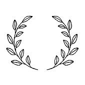 Black circular foliate laurels branches. Vintage laurel wreaths collection. Hand drawn vector laurel leaves decorative elements. Leaves, swirls, ornate, award, icon. Vector illustration.