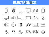 Set of 24 Electronics web icons in line style. Device, phone, laptop, communication, smartphone, ecommerce. Vector illustration.