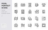 Photo printing line icon set. Brand identity printed on products like brochure, banner, mug, plotter vector illustrations. Simple outline signs for polygraphy. 30x30 Pixel Perfect. Editable Strokes