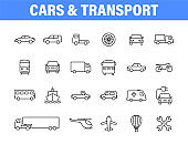 Set of 24 Cars and transport web icons in line style. Airplane, bus, parking, travel, train, comfortable. Vector illustration.