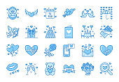 Valentines day flat line icons. Love, romance symbols - hearts, engagement ring, wedding cake, Cupid, romantic date card. Thin linear signs for february 14 celebration. Blue color, Editable Stroke