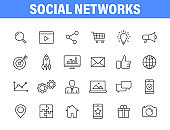 Set of 24 Social Networks web icons in line style. Marketing, feedback, management, target, like, content. Vector illustration.