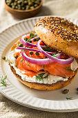 Homemade Bagel and Salmon Lox