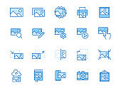 Photo line icon set. Image gallery, picture frame, printer, file resize, camera minimal vector illustrations. Simple outline signs for photos editor application. Blue color, Editable Stroke