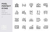 Investment line icon set. Stock market, bond, financial analysis, broker, income increase minimal vector illustration. Simple outline signs investor application. 30x30 Pixel Perfect. Editable Strokes
