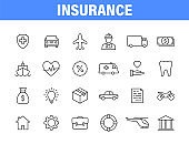 Set of 24 Insurance web icons in line style. Business, health, policy, tornado, flood, help. Vector illustration.