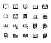 Book flat icons set. Open books, dictionary, bible, audio novel, dictionary, literature education black minimal vector illustrations. Simple glyph silhouette signs for web library app