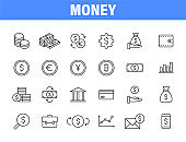 Set of 24 Money and Payment web icons in line style. Business, investment, financial, banking ,dollar, bank, cash, coin exchange, pay. Vector illustration.