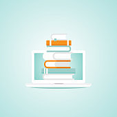 white laptop with stack of colorful books. Isolated on powder blue background.