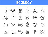 Set of 24 Ecology web icons in line style. Electric Car, Organic, environmental energy. Vector illustration.