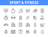 Set of 24 Sport and Fitness, healthy food web icons in line style. Soccer, nutrition, workout, teamwork. Vector illustration.