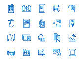 Photo printing line icon set. Brand identity printed on products like brochure, banner, mug, plotter vector illustrations. Simple outline signs for polygraphy. Blue color, Editable Stroke