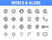 Set of 24 Globe and earth planet web icons in line style. Navigational Equipment, Planet Earth, Airplane, Map. Vector illustration.