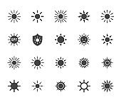 Sun flat glyph icons set. Sunshine, sunny day, summer heat, morning sunlight, hot weather vector illustrations. Black signs for uv protection. Silhouette pictogram pixel perfect 64x64