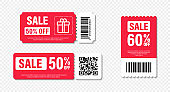 Set of template sale. Gift Coupon element template, graphics design. Voucher promo code. Shopping, marketing, food and drink, business. Vector illustration.