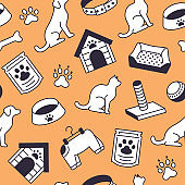 Pet shop vector seamless pattern with flat line icons of dog house, cat food, bird cage, rabbit, fish aquarium, animal paw. Black white orange color background, wallpaper for veterinary clinic