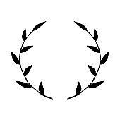 Black circular foliate laurels branches. Vintage laurel wreaths collection. Hand drawn vector laurel leaves decorative elements. Leaves, swirls, ornate, award, icon. Vector illustration.