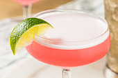 Refreshing Cold Pink Cosmopolitan Cocktail