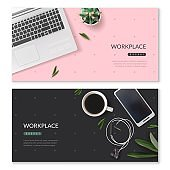 Realistic desktop workplace mockup identity horizontal banners