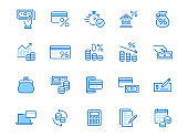 Money loan line icon set. Credit score, low interest, discount card, mortgage percent, tax minimal vector illustration. Simple outline signs for bank application. Blue color, Editable Stroke