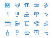 Atm machine line icon set. Withdraw money, deposit, hand taking cash, receipt minimal vector illustration. Simple outline signs for payment terminal application. Blue color, Editable Stroke